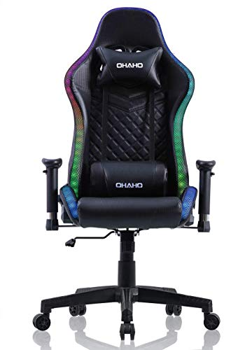 OHAHO Gaming Chair RGB Lighting High Back Computer Chair PU Leather Desk Chair PC Racing LED Ergonomic Adjustable Swivel Task Chair with Headrest and Lumbar Support (Black)