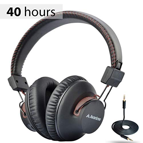Avantree AS9S 40 hr Wireless Wired Bluetooth Over Ear Headphones with Mic for Computer TV Watching, Extra Comfortable & Lightweight, HiFi Stereo Headset for PC Laptop Cell Phone - Brown