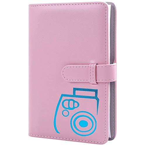 96 Pockets Wallet Fotoalbum mit PU-Leder, kompatibel mit Fujifilm Instax Mini 11 / 7S / 8/8 + / 9/25 / 26/90 / 70 / 50s Sofortbildkamerafilm und Polaroid Snap (pink)
