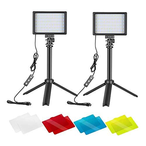 MERIGLARE 2 Paquetes de Luz de Video LED USB 66 con Filtros de Color de Mini Trípode para
