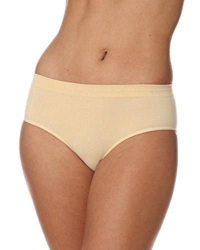 BRUBECK Damen Hipster Unterwäsche   Slips Seamless   80% Baumwolle Slip für Frauen   Unterhose atmungsaktiv   Hüftslip nahtlos   Womens Underwear   Cotton Panties   Gr. L, beige   HI00090A