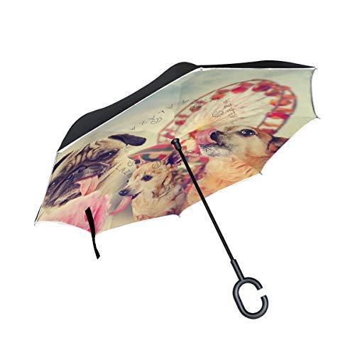 XiangHeFu Dubbele Laag Omgekeerde Omgekeerde Paraplu's Dier Mooie Honden Carnaval Amusement Park Vouwen Winddichte UV Bescherming Grote Recht voor Auto met C-Shaped Handvat