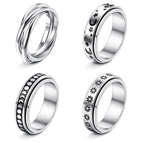 CeFoney Juego de 4 anillos giratorios para mujer, estilo vintage, para mujeres, hombres, anillos giratorios de acero inoxidable, anillos de ansiedad, anillos de promesa de boda