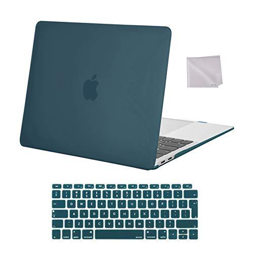MOSISO Hülle Koffer Kompatibel mit 2020 2019 2018 MacBook Air 13 Zoll A2337 M1 A2179 A1932,Plastik Hartschale&Tastaturschutz&Tuch Abwischen Kompatibel mit Mac Air 13 Retina Display,Deep Teal