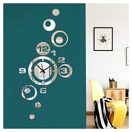 Wandaro Reloj de pared moderno con diseño de espejo I Design 12 – (ancho x alto) 27 x 53 cm I Adhesivo decorativo 3D Reloj de pared adhesivo decorativo para pared DL427