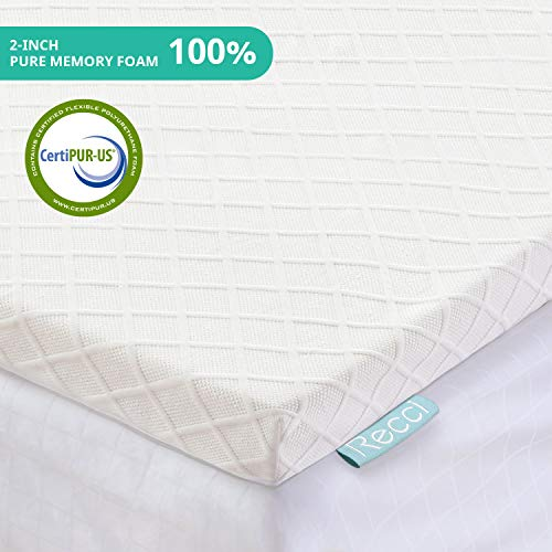 RECCI 2-Inch Memory Foam Mattress Topper Twin, Pressure-Relieving Bed Topper, Memory Foam Mattress Pad with Bamboo Viscose Cover - Removable&Washable,CertiPUR-US(Twin Size)