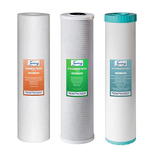 """iSpring F3WGB32BM 4.5"""" x 20"""" 3-Stage Whole House Water Filter Set Replacement Pack with Sediment, CTO Carbon Block, and Iron & Manganese Reducing Cartridges Fits WGB32BM , White"""