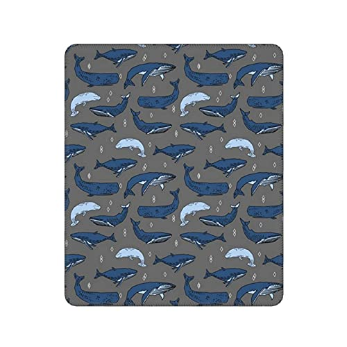 Whales Charcoal And Blue Kids Ocean Nautical Animals Mouse Pad Non-Slip Rubber Gaming Mouse Pad Rectangle Mouse Pads for Computers Desktops Laptop 30x25cm