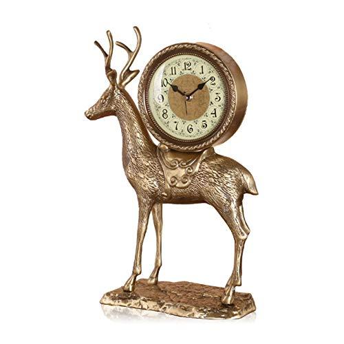 KEWEI - Reloj de mesa con soporte de flores de estilo europeo, de cobre puro, silencioso, cuarzo, mesita de noche, ciervos rojos, estante de bronce amarillo