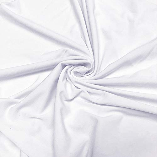 ITY Fabric | 5 Yard Continuous | Jersey Spandex Knit | 2-Way Stretch | 60' Wide (White, 5 Yards)