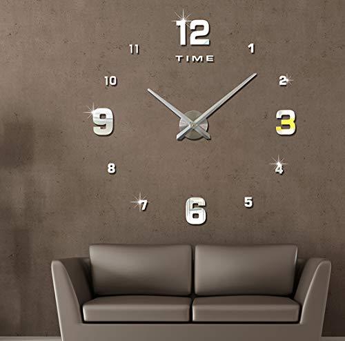 Topkey DIY Reloj de Pared 3D Grande Silencioso sin Marco Espejo Sticker para Hogar Habitación - Plata