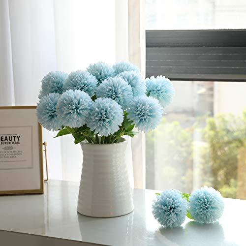 Tifuly Flores de Hortensia Artificial, 6 Piezas de crisantemo de Seda pequeña Bola de Flores para la decoración de la Oficina del jardín del hogar, Ramos de Novia, arreglos Florales(Azul)