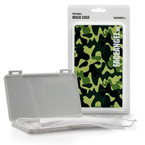 FACEANGEL Masken-Box für bis zu 5 Mund- und Nasenmasken – Camouflage Grün I Masken-Etui für die hygienische Masken-Aufbewahrung I Ideal für Schulranzen, Handtasche, Rucksack & Auto
