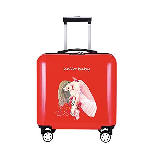 FGHHJ Bagagli della Donna, Piccola Valigia, Bagagli di Viaggio, Custodia del Carrello Hard Shell Leggero,Rosso
