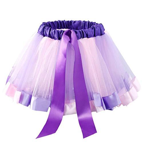 Falda del Tutu para Niña,SHOBDW Bebé Niños Enagua Arco Iris Pettiskirt Fiesta Linda Niños Vestidos de Cumpleaños Falda de Bowknot Ropa de Baile Princesa Traje de Baile(A,3-5 Años)