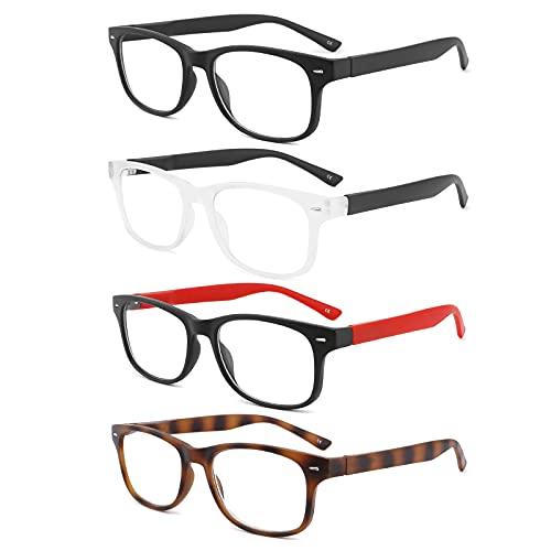 BOSAIL Reading Glasses Blue Light Blocking,4 Pack Quality Fashion Square...