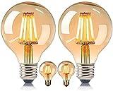 MeYuxg Bombilla vintage Edison E27, bombilla de estilo retro E27, luz blanca cálida 2200 K-4 W 220 – 240 V LED, bombilla antigua, utilizada para la iluminación de ambiente nostálgico y retro (4)