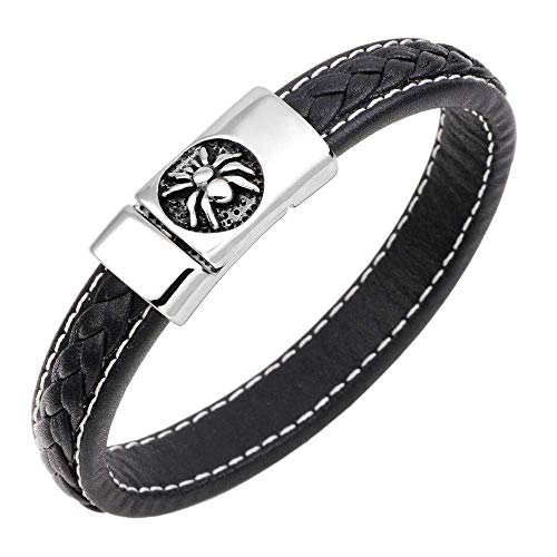 Bracelets Jewellery Leather Braided Bracelet Braided Leather Bracelet Sailing Rope Bracelet Stainless Steel Spider Leather Bracelet White Line Black