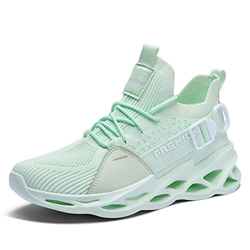 Nobranded Running Shoes Men Slip on Cool Comfortable Light Best Keep Athletic Sport Gym Tennis Outdoor Run Sneakers for Mens Mint Green 42