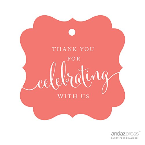 Andaz Press Fancy Frame Gift Tags, Thank You For Celebrating With Us, Coral, 24-Pack, For Baby Bridal Wedding Shower, Kids 1st Sweet 16 Quinceanera Birthdays, Anniversary, Graduation, Baptism, Christening, Confirmation, Communion Party Favors, Gifts, Boxes, Bags, Treats and Presents