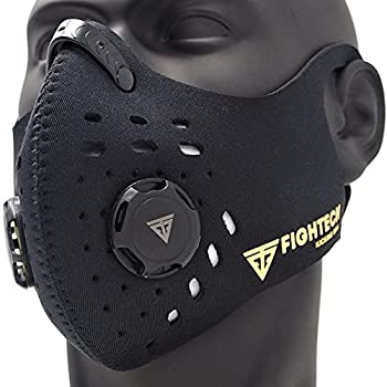 FIGHTECH Dust Mask | Reusable Face Mask with Filter | Air Filtration Mask with Vent | Dust Mask Woodworking  Large Black