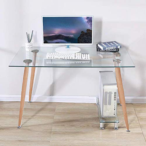 GOLDFAN Tempered Glass Computer Desk Modern Student Study Desk for Home Office Corner Writing Desk Table,120cm