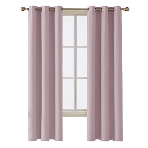 Deconovo Room Darkening Thermal Insulated Blackout Grommet Window Curtain Panel for Bedroom, Pinkish Lavender, 42x84-inch,1 Panel