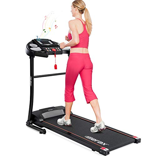 Merax Folding Electric Motorized Treadmill, Jogging Walking Running Exercise Machine with 12 Preset Programs, Shock Absoroption and Incline