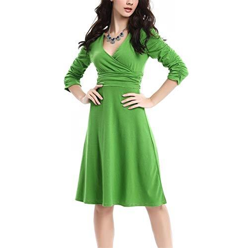 nobrand Mode Frühling Sommer Kleid Frauen Rüschen Drapiert Dreiviertel V-Ausschnitt Party Wickelkleid XL Apfelgrün
