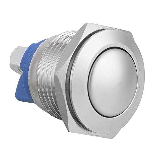 Interruptor de botón, interruptor de botón de metal de 2 pines, interruptor de botón de cabeza redonda, interruptor de botón momentáneo, 40 piezas para la industria del hogar