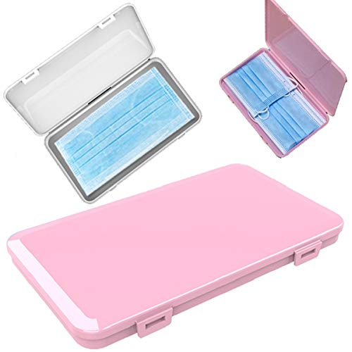 {2 Pack} Kavach Plastic Storage Case Organizer for All Types of M@sk, Portable Rectangle Dust-Proof Storage Containers Plastic Box Cover for Prevention (1Pink, 1White)