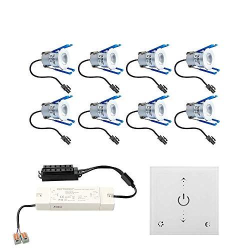 Foco LED empotrable Malaga 8 x 3 W, regulable, IP65, resistente a salpicaduras, incluye regulador de pared y mando a distancia