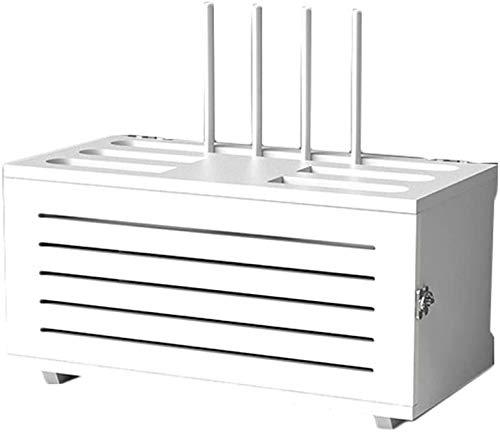 YZPTD Caja de Madera Maciza Conjuntos de Caja de Encendido Caja de Corriente Caja de Acabado Almacenamiento WiFi Caja de Almacenamiento enrutador inalámbrico WiFi Montado en la Pared (Color: Blanco)