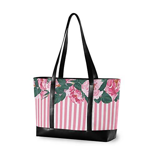 RELEESSS Tote Laptop Bags Floral Flower Handbag Shoulder Bag Laptop Case for Women Ladies Girls
