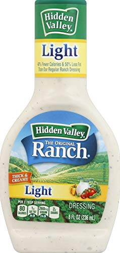 Hidden Valley Original Ranch Light Salad Dressing & Topping, Gluten Free - 8 Ounce Bottle (Package May Vary)