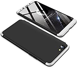 Case OPPO F7 Youth 360 Degrees protective Cover + tempered glass film High quality, 3 in1 Full Body protection Bumper hard phone Case Ultra-thin Skin Case,for OPPO F7 Youth (Black Silver)