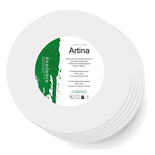 Artina Set de 5 lienzos blancos redondos con bastidores - 280g/m² - círculo - Ø 10 cm