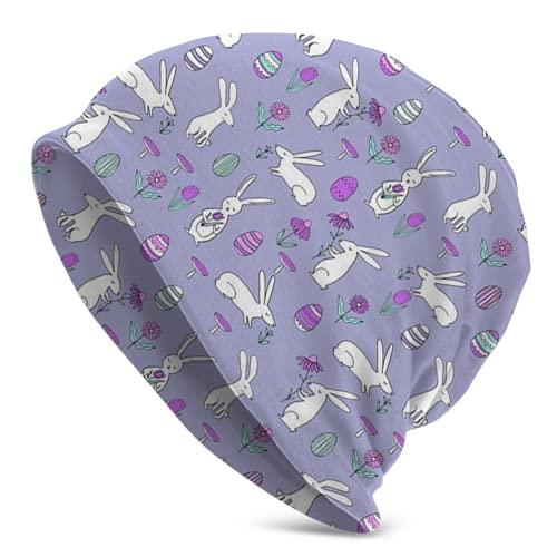 Gong Sombrero de punto de conejo de Pascua, 6 adultos y hombres, gorro unisex para adultos, gorra, pasamontañas, medio pasamontañas