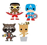 Funko Pop! Collectible Pins Set of 4: Marvel - Captain America, Rocket, Groot and Falcon...