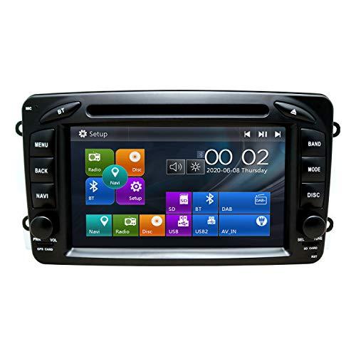 SWTNVIN Autoradio passend für Mercedes-Benz CLK W209 C Class W203 A-Class Viano In Dash 7 Zoll GPS-Navigator Doppel-DIN-Haupteinheit, unterstützt USB SD FM AM RDS Video Bluetooth SWC DVD CD-Player