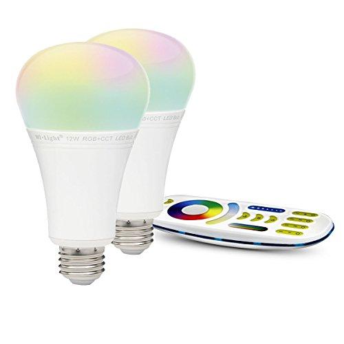 LIGHTEU®, 2x 12W E27 Neues Design Milight WiFi E27 12W 2.4G RF Fernbedienung RGBCCT LED Lampe leuchtet mit einer 4-Zonen-Fernbedienung