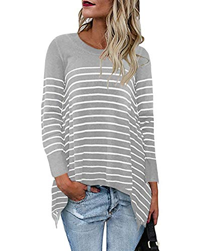 CNFIO Camiseta de manga larga para mujer, cuello redondo, a rayas, suelta, blusas de gran tamaño