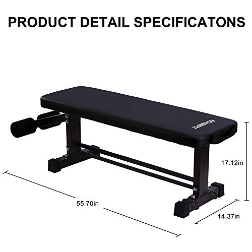 ECHANFIT Flat Weight Bench Thick Backrest Cushion Workout Exercise Bench for Weight Training and Ab Exercises
