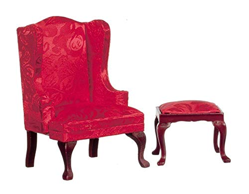 Melody Jane Muebles Miniatura para Casa de Muñecas Queen Anne Rojo Lateral Sillón y Reposapiés