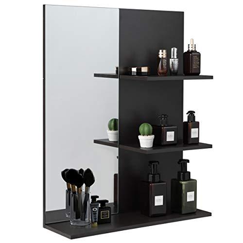 COSTWAY Badezimmer Wandspiegel mit 3 Regalböden, Badspiegel bis 8kg belastbar, Badezimmerspiegel 72 x 17 x 57 cm, grau