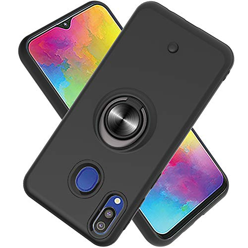 FAWUMAN Funda para Samsung Galaxy M20 Soft TPU + Duro PC Doble Parachoques,Giroscopio Rotatorio,Botón de Descompresión, con Soporte de Anillo Funda Protectora Serie -Negro