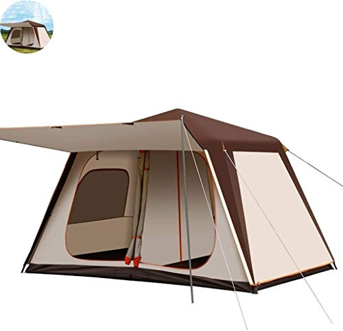 LAZ Camping Tents 4-6 People, Outdoor Pop-Up Tents, Automatic Dome Tents, Thick Tunnel Tents For Camping Waterproof Sunscreen, Two-room One-room Family Tent (Color : White+brown)