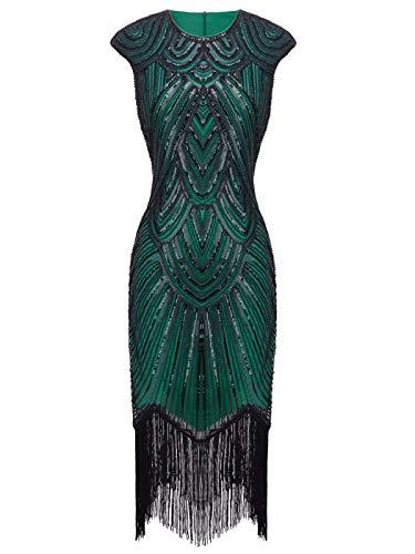 FAIRY COUPLE 1920s Sequined Embellished Tassels Hem Flapper Dress D20S002(L,Green Black)