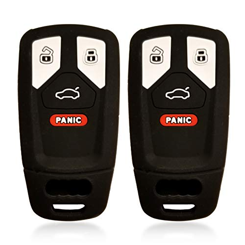 Massimiliano Incas 2pcs Dobrev 4 Buttons Silicone Case Protector Key Fob Cover Smart Car Remote Holder Suitable for Audi TT A4 A5 S4 S5 Q7 SQ7 2017 2018 with Panic (Black and Black)