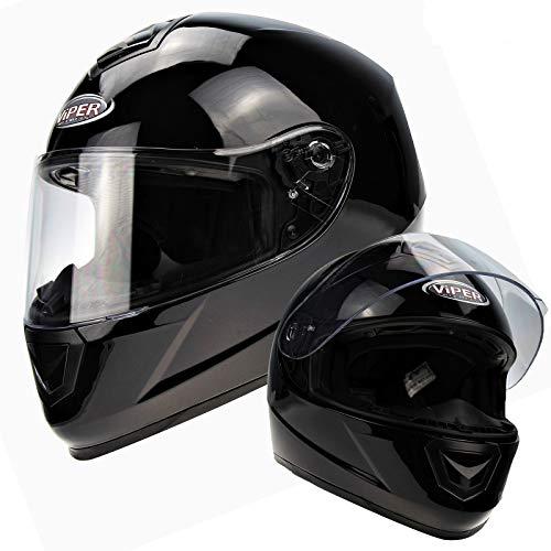 Viper Helmets Motorradhelm RS220 Einfarbige, White, 53-54 cm